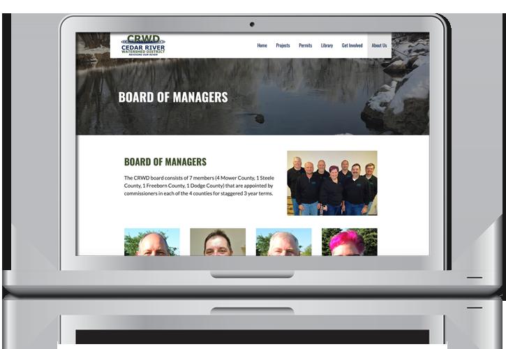 Cedar River Watershed District Website Internal Pages Design