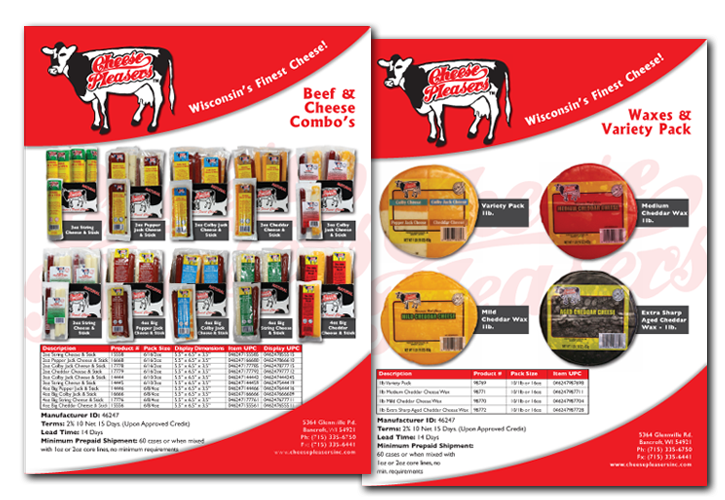 Cheese Pleasers Sell Sheet Designs and Photographs