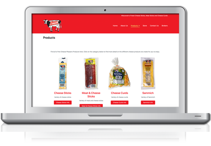 Cheese Pleasers Products Website Design