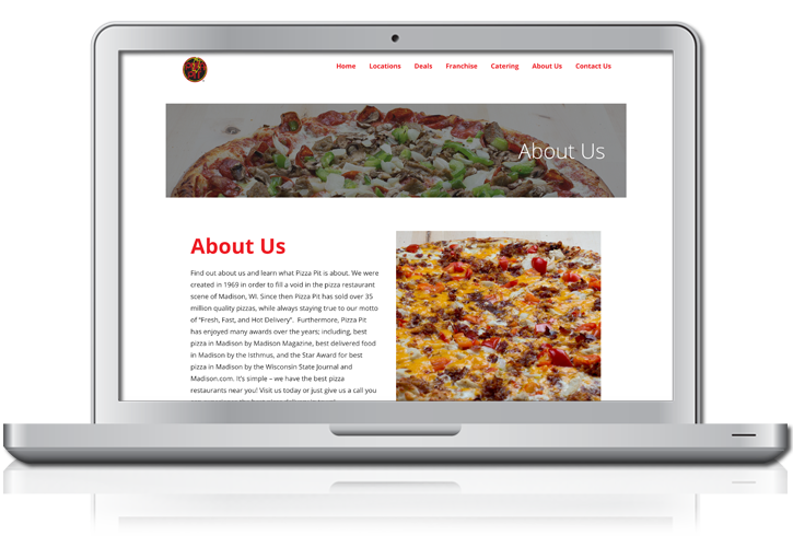 Pizza Pit Website Menu Design